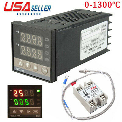 Digital Pid Temperature Control 40a Ssr K Thermocouple 0 To 400 Rex-c100 Us