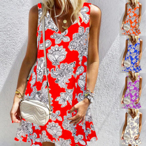 Summer Women Tunic Floral Print Sleeveless Tank Top Crew Neck Loose T Shirt Tops Clothing, Shoes & Accessories