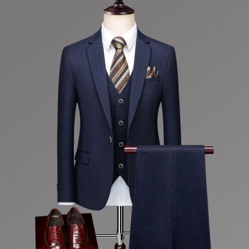Men/'s Wedding Formal Dress Blazers 3pcs Suits Vest Coat Pants Stripes One Button