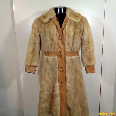 Gorgeous Vtg Mink Fur & Leather Jacket COAT Womens Size S Golden beige