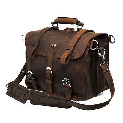 "17"" Men's Genuine Saddle Leather Large Messenger Bags Briefcase Laptop Backpack"