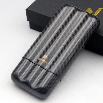 Cohiba Real Carbon Fiber 3 Tube Cigar Case Travel Holder In Gift Box Cigar Tube Gift