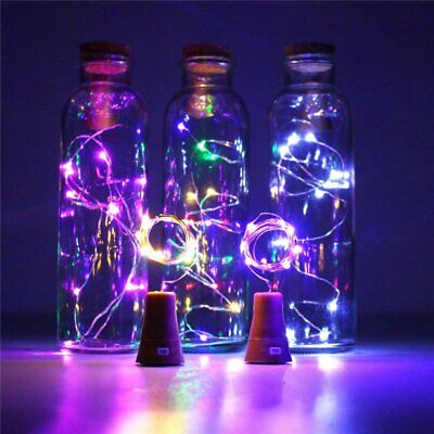 LED Solar Fairy String Lights Wine Bottle Copper Cork Wire Lamp Party Xmas Decor - Decorations Lights