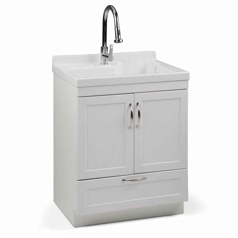 "Simpli Home Maile 28"" Laundry Sink Cabinet in White"
