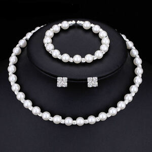 Pearl & Crystal Bridesmaid Wedding Jewellery Set, Necklace Bracelet Earrings