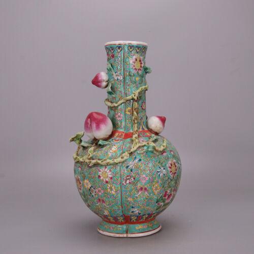 Chinese Antique Qing Famille Rose Porcelain Fve Peach Vase