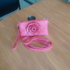 Pink Leather Clutch