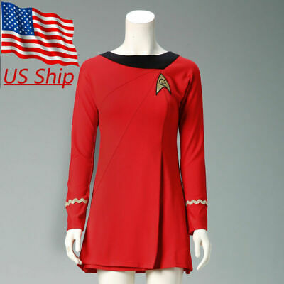 Classic Star Trek Female Duty TOS Red Uniform Dress Cosplay Costume Suit Adult](Star Trek Female Costumes)