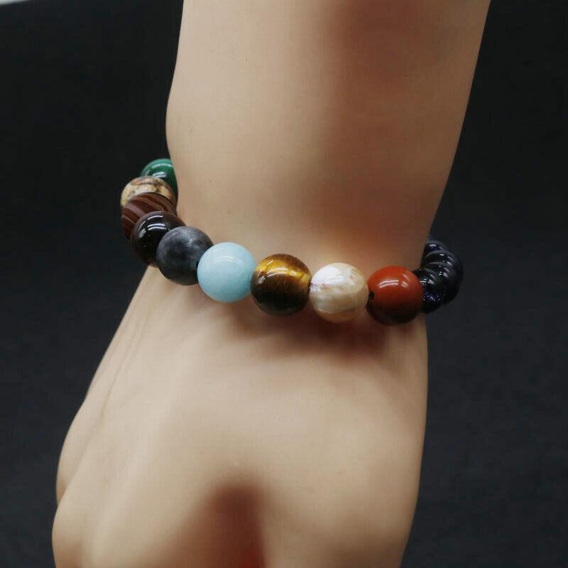 Eight Planets Bead Bracelet Men Women Natural Stone Universe Yoga Chakra Bangle