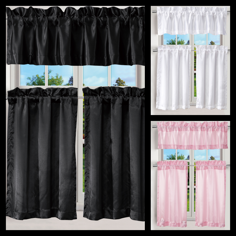 1 SET KITCHEN OR BATHROOM SATIN WINDOW CURTAIN HOME DECOR RO