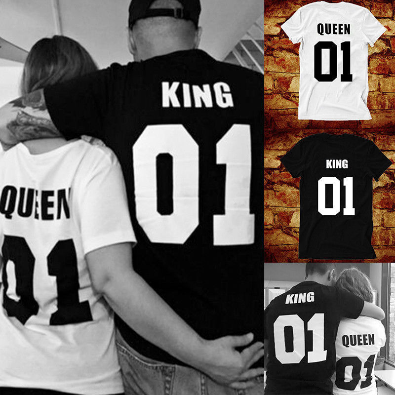 3fff729885b7ee Details about Hot Couple T-Shirt King And Queen Love Matching Unisex Shirts  Summer Tee Tops
