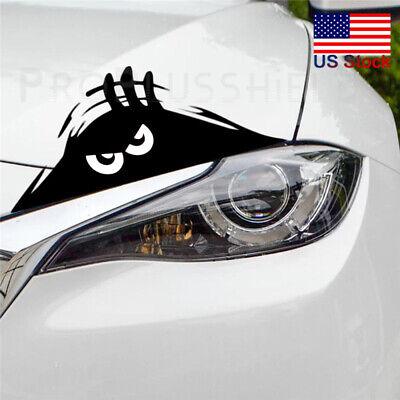 Black 3D Funny Peeking Eyes For Car Bumper Window Wall Vinyl Decal Sticker Hot (Black Vinyl Bolt)