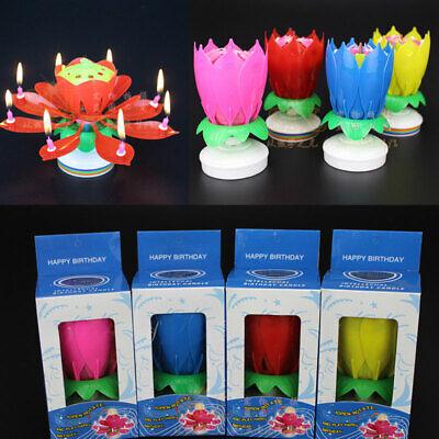 1pc Magic Birthday Cake Lotus- Flower Candle Blossom Rotatin