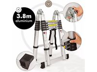 Aluminium Multi-Purpose Folding Telescopic Ladder A Frame Shape EN131 Brand New