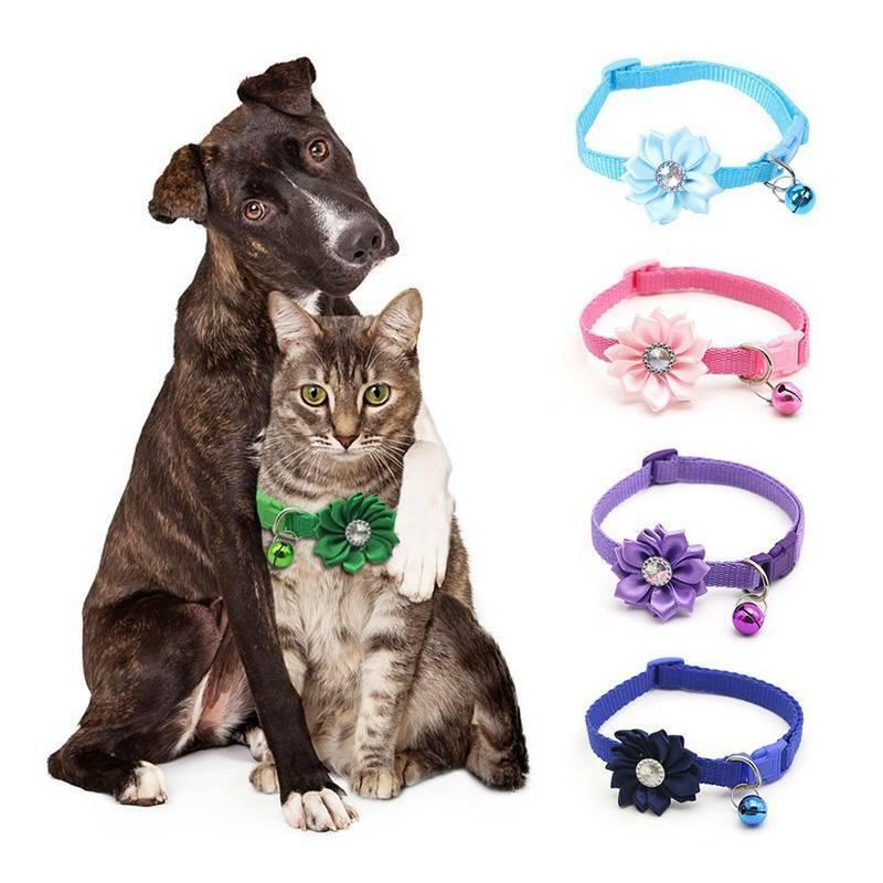 Flower Collar Adjustable Kitten Collar Bell Cat Small Pet Pu