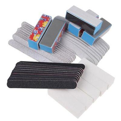 40PCS Nail Art Sanding Files Buffer Block Manicure Pedicure Tools UV Gel Set US