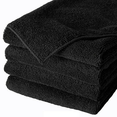 96 BLACK MICROFIBER TOWEL NEW CLEANING CLOTHS BULK 16X16 MANUFACTURERS SALE