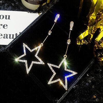 1 Pair Long Hollow Star Drop Dangle Earrings Crystal Rhinestone Micro Pave Women