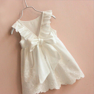 US Summer Kids Baby Girl Lace Bow Flower Princess Dresses Party Pageant - Lace Flower Girls Dresses