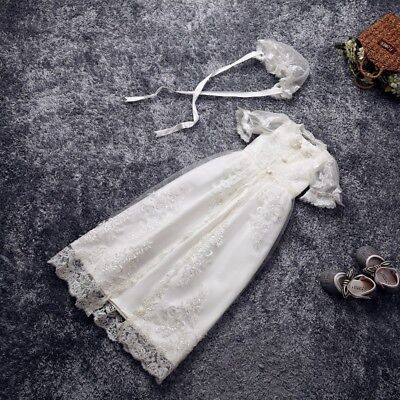 Ivory White Christening Dresses Infant Lace Baby Vintage Baptism Gowns +Bonnet - Baby Christening