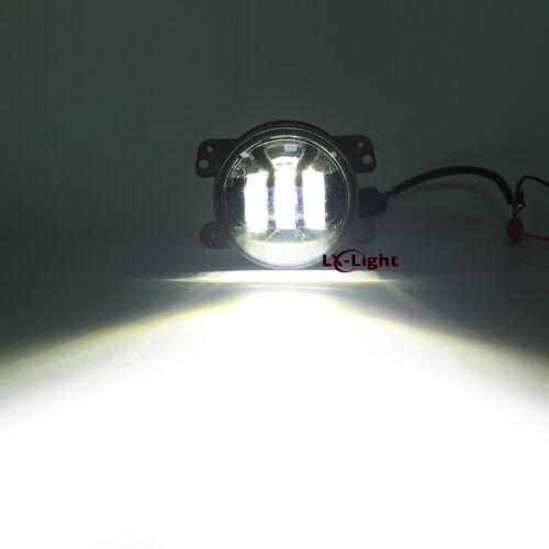 "::Pair 4"" Round LED Fog Light Front Bumper Driving Lamp for Jeep Wrangler JK JL JT"