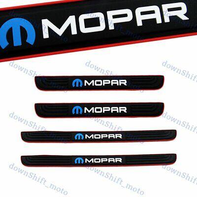 For 4PCS MOPAR Black Rubber Car Door Scuff Sill Cover Panel Step Protector New