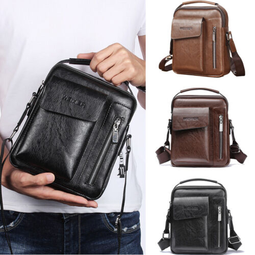 US STOCK Men Crossbody Bags Small Casual Hand Bag PU Leather