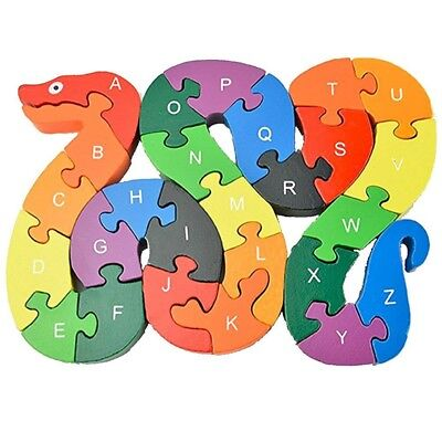 Puzzles For Kids (26Letters Intelligence Snake Puzzle Toys Colorful Wooden Blocks for)