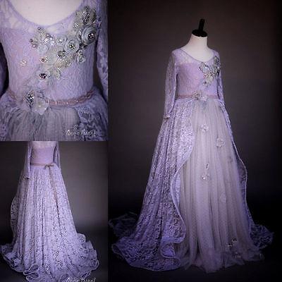 Elegant Birthday Party Purple Lace Girl's Dresses Custom Made Train Gown Flowers - Custom Made Birthday Dresses
