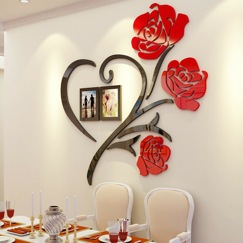 Home Decoration - US Family Love Rose Wall Decals 3D DIY Photo Frame Wall Sticker Mural Home Decor