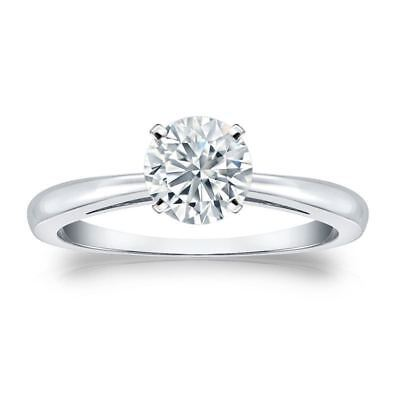 0.30 Cts F/VS1 GIA Certified Natural Diamond Solitaire Ring In Hallmark 14K Gold
