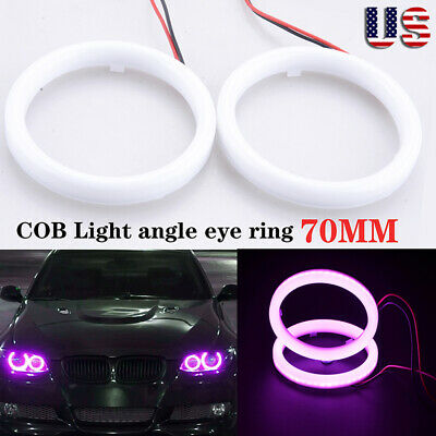 70mm Car DRL COB LED Angel Eyes Halo Ring Fog Headlight Lamp Light Purple Angel Eyes Car
