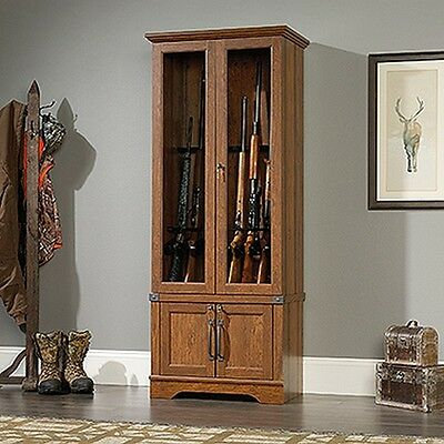 خزانة جديد Sauder 419575 Carson Forge Gun Cabinet Washington Cherry New