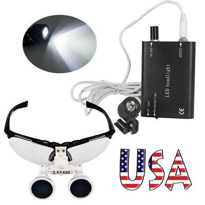 Dental Dentist loupes 2.5x Surgical Medical Binocular Loupe LED Head Light Study