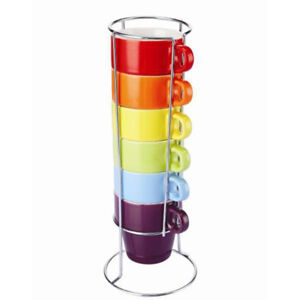 Colours 6 Piece Stacking Mug Set With Chrome Stand 220ml Cups Tea Coffee NEW