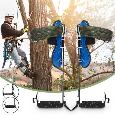2-gear Tree Climbing Spike Set Safety Belt Adjustable Rope Lanyard Rescue Pedal