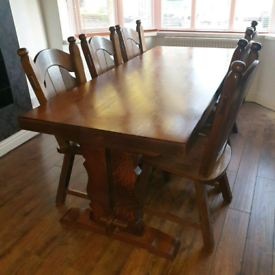 Dutch oak dining table and 6 chairs
