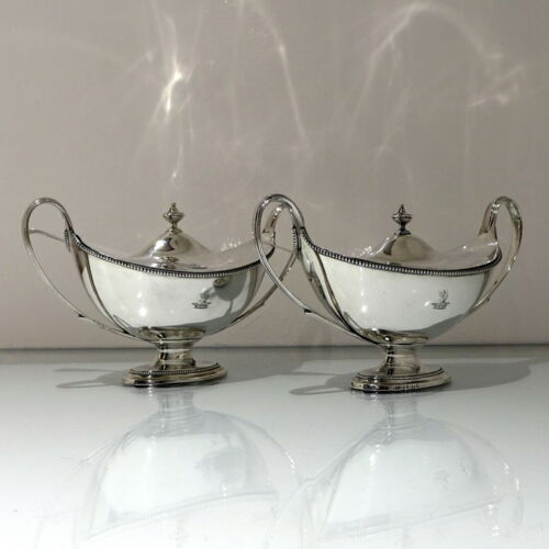 Antique George III Sterling Silver Pair Sauce Tureens London 1786 John Scofield
