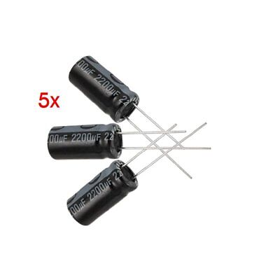 5 X 2200uf 16v 105c Radial Electrolytic Capacitor 10x20mm J8e9