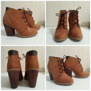 Size 6 Brown Lace-Up Ankle Booties