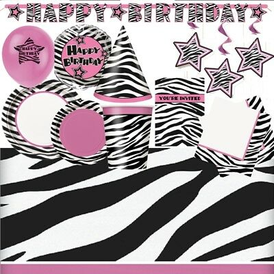 tripes Party Supplies Tableware, Balloons & Decorations (Zebra Party Supplies)