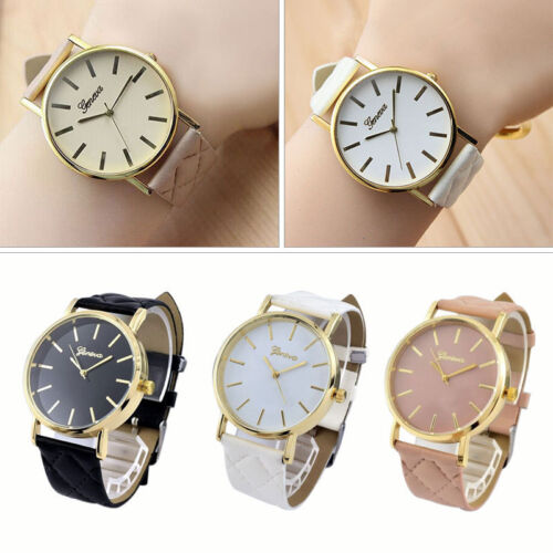 Geneva Damenuhr Armbanduhr Leder Armband Mode Uhr Quarz Großes Uhrengehäuse Neu