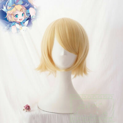 Anime Vocaloid Kagamine Twins Rin Yellow Short Hair Wig Halloween Cosplay