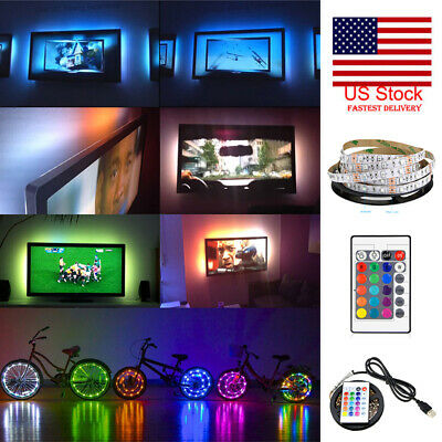 5V USB LED Strip Lights TV Back Light 5050 RGB Colour Changing 24Key Remote