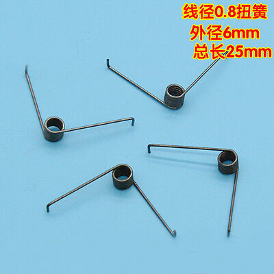 4Pcs 0.8mm Wire Diameter 6mm Outside Diameter Torsion Springs 6 Turns 90° 25mm L