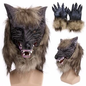 Halloween Latex Rubber Wolf Head Hair Mask Werewolf Gloves Party Scary Cosplay