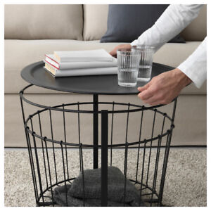 IKEA modern round metal coffee table with storage!
