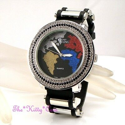 Gents Ladies Unisex Rapper Ice Gem Pimp Bling HipHop Crystals Multi Globe Watch