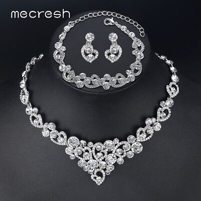Mecresh Silver Crystal Heart Necklace Earring Set Fashion Jewelry for Wedding