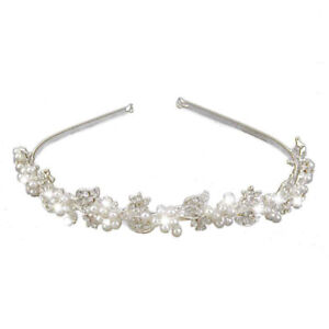 Bridal Wedding Rhinestones Pearls Silver Head band Hairband -New